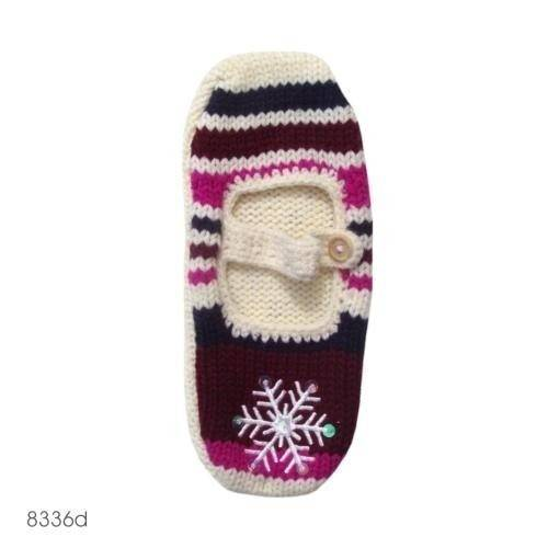 Knitted Mary Jane slippers with snowflake   blue/pink SOXO Socks, slipper...