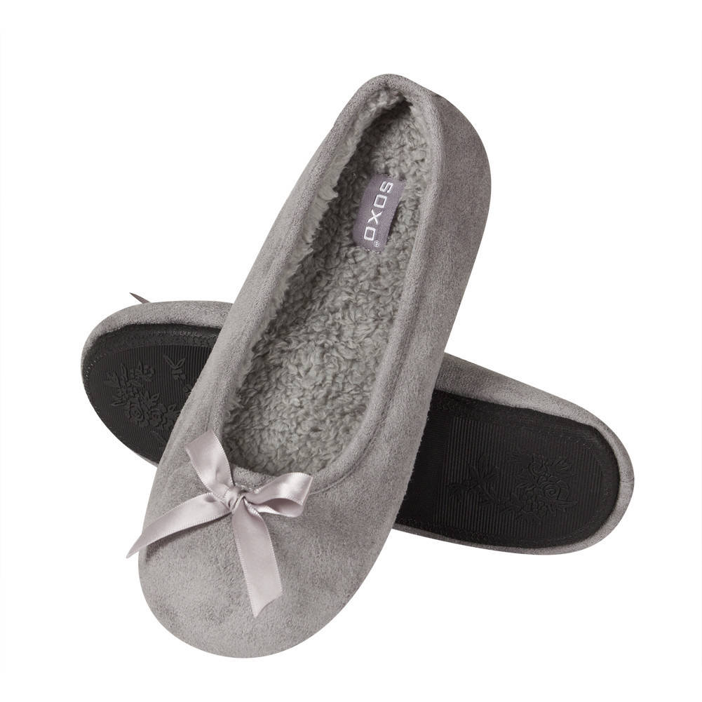 Soxo Women S Ballerina Slippers Tpr Sole Gray Women