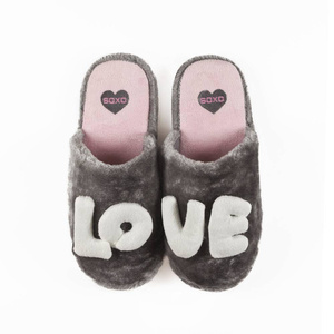 Slippers for women SOXO LOVE gray with hard soles
