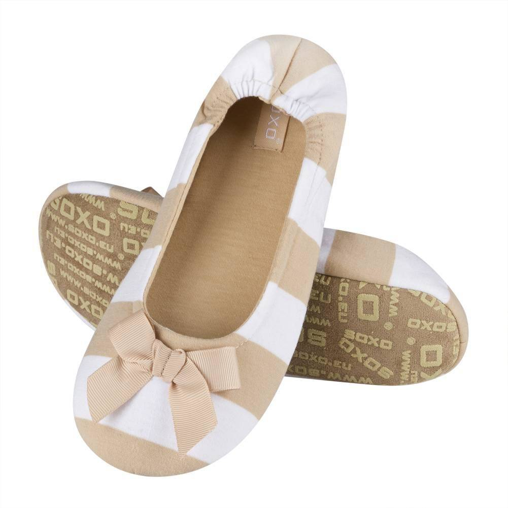 cbe7af230bd7 SOXO stripped ballerina slippers with bow