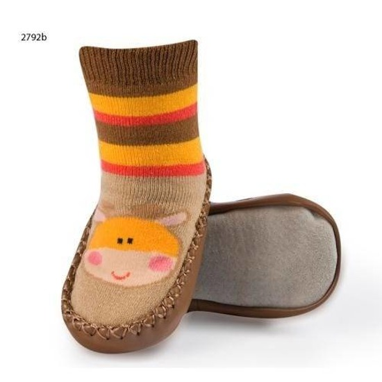 Children's moccasin slippers socks with leather soles