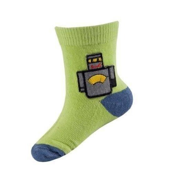 Green SOXO baby socks with robot