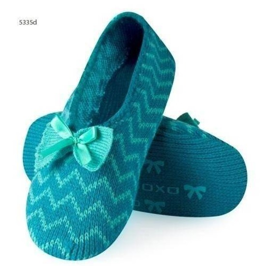 Knitted ballerina slippers with zigzag pattern – turquoise