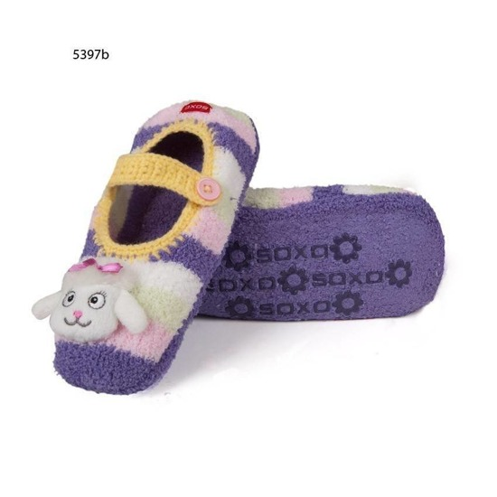 Plush striped Mary Jane slippers with poodle