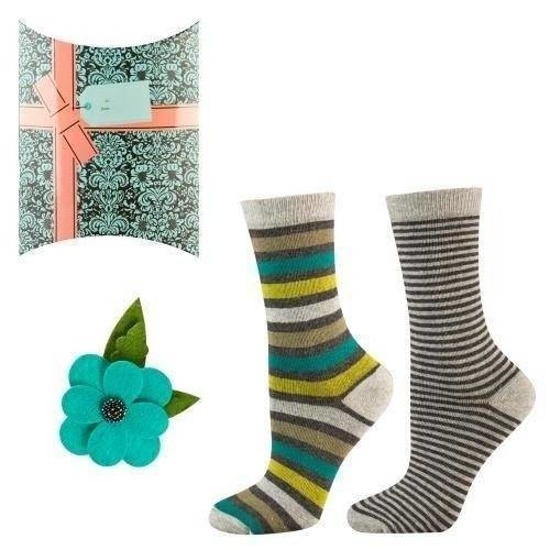 "SOXO women's set: 2 pair socks + ""Turquoise flower"" brooch with decorative packaging"