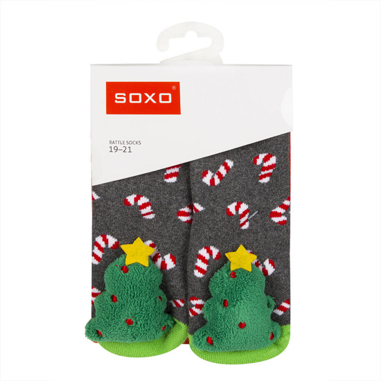 SOXO Infant socks with rattle and ABS PREMIUM