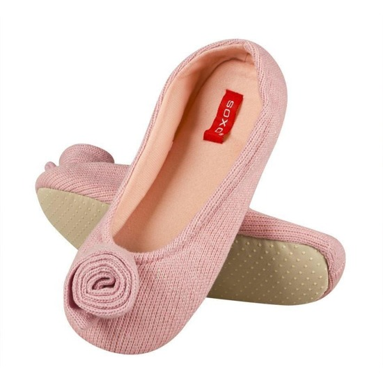 SOXO Knitted women's slippers with rose design