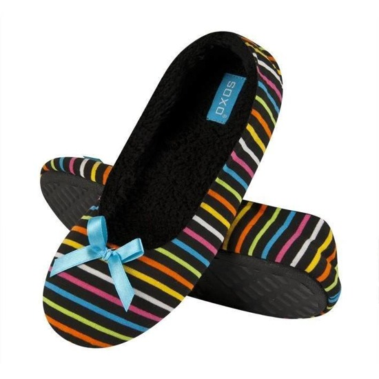 SOXO Women's ballerina slippers in colorful stripes (TPR sole)