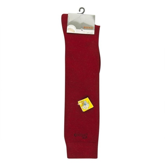 SOXO Women's burgundy knee highs