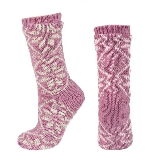 SOXO Women's knitted socks in pretty nordic patterns + ABS