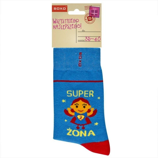 SOXO Women's occassional socks polish text