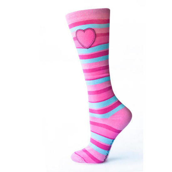 SOXO Women's striped knee highs with application