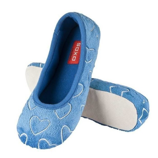 SOXO ballerina slippers with hearts – blue