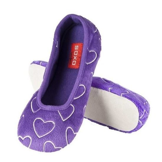 SOXO ballerina slippers with hearts – purple