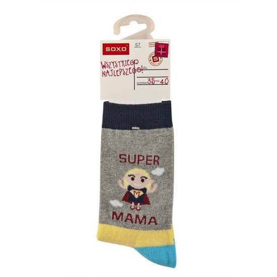 SOXO socks 'super mama'  (polish text)
