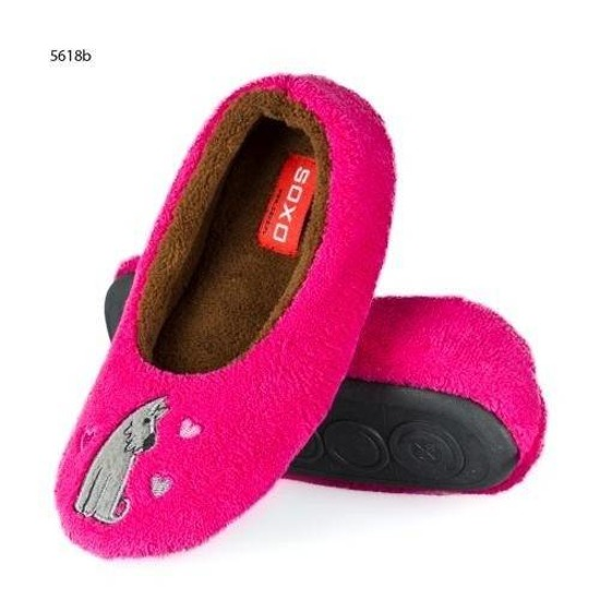 Shocking pink slippers with dog – TPR sole
