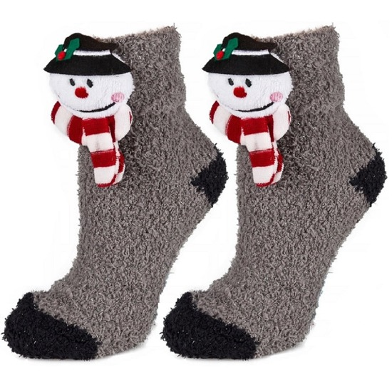 Socks SOXO chenille with a Christmas head