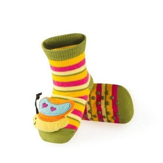 Striped SOXO baby socks with sewn-on butterfly + ABS