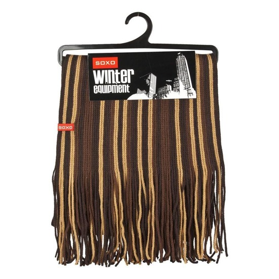 Striped SOXO scarf – brown