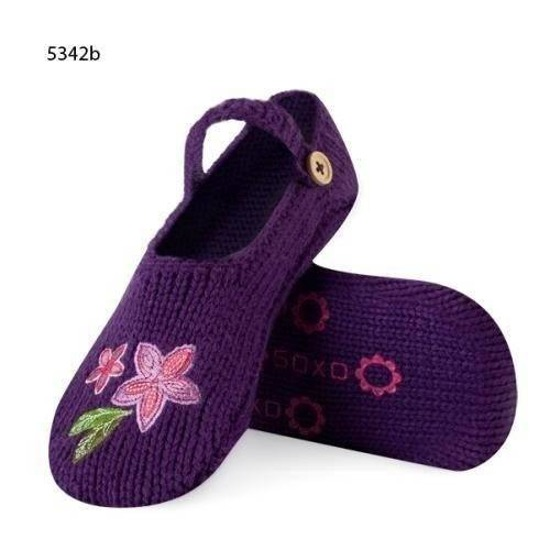 "Women's slippers SOXO knitted with abs - ""Pink flower"""