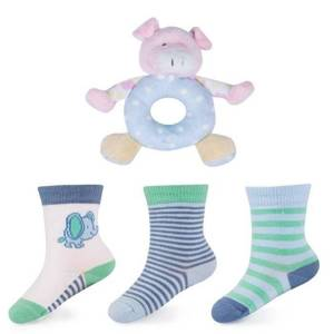 Infant set: 3 pairs of socks + rattle