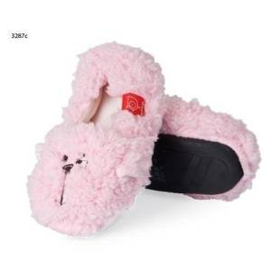 Plush children's slippers with TPR sole