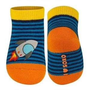 SOXO Infant striped socks with vehicle patch