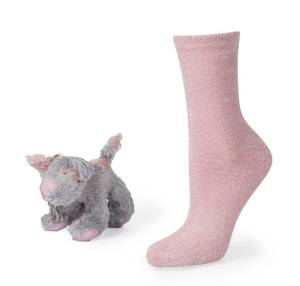SOXO Women's socks with toy puppy