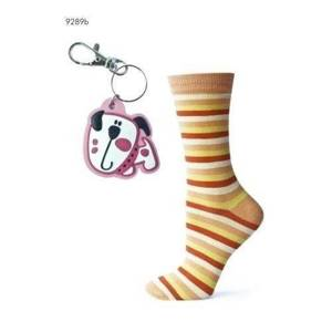 SOXO Women's striped socks with key ring