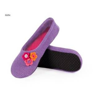 SOXO ballerina slippers with flowers – purple