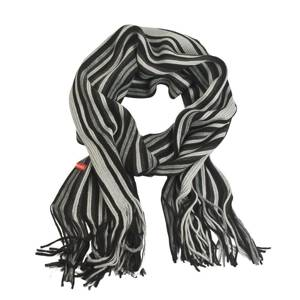 Striped SOXO scarf – grey/black