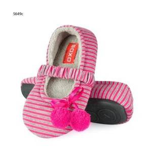Striped ballerina slippers with pompons – grey/shocking pink