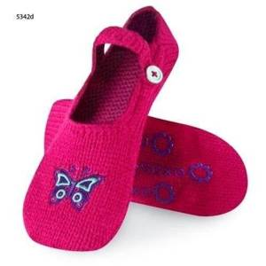 "Women's slippers SOXO knitted with abs - ""Purple butterfly"""
