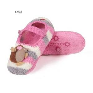 "Women's slippers SOXO plush with abs - ""Hedgehog with a pink flower"""