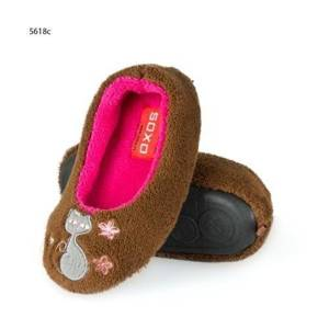 Brown slippers with cat – TPR sole